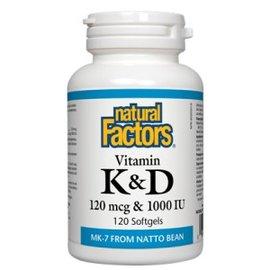Natural Factors Vitamin K&D  (Natto bean) 120 sofgels