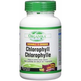 Organika Chlorophyll 100 peppermint flavour chewable tabs