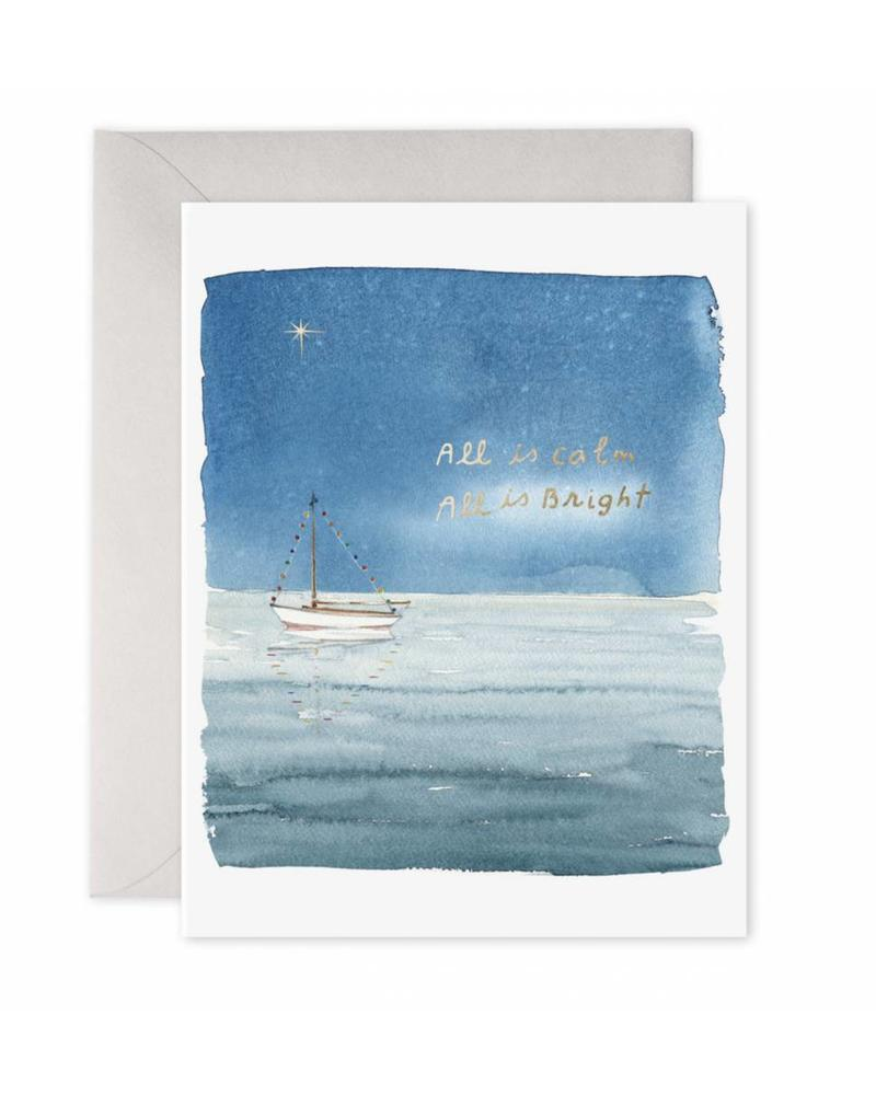 Holiday Sailboat All is Calm All is Bright Greeting Card