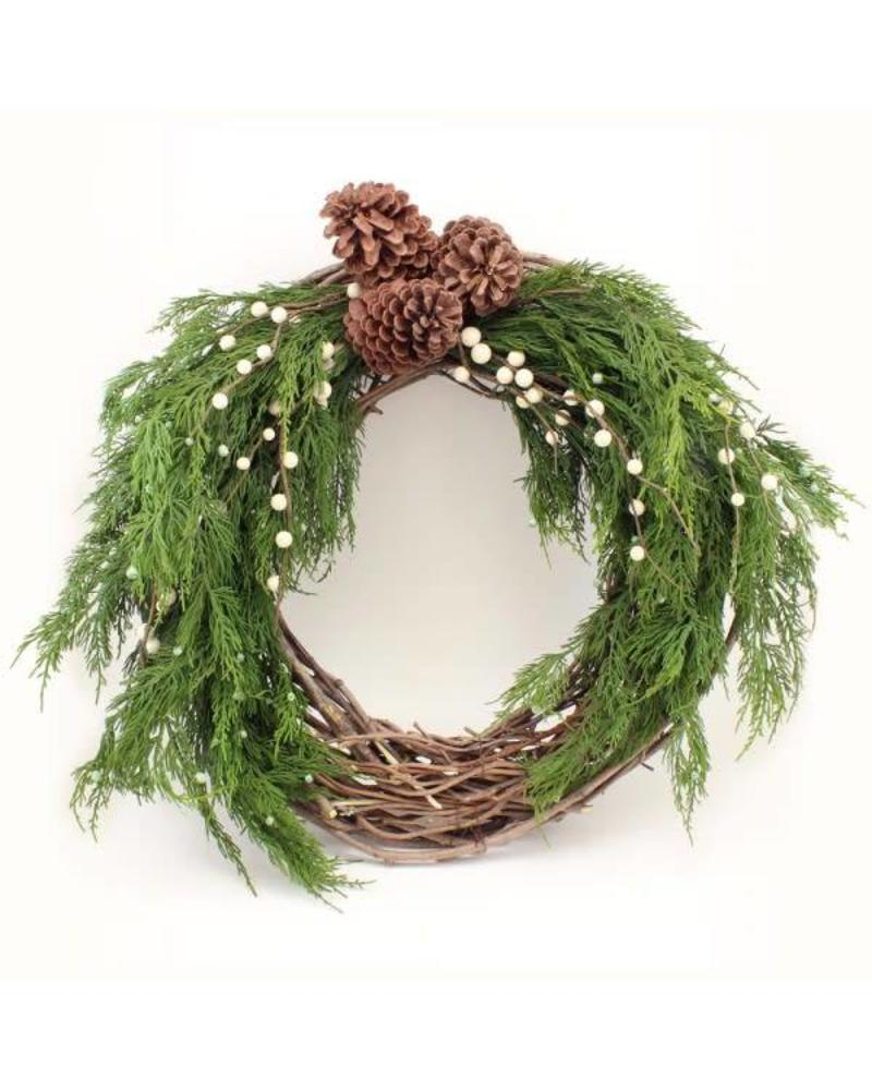 "21"" Pinecone Branch Wreath"