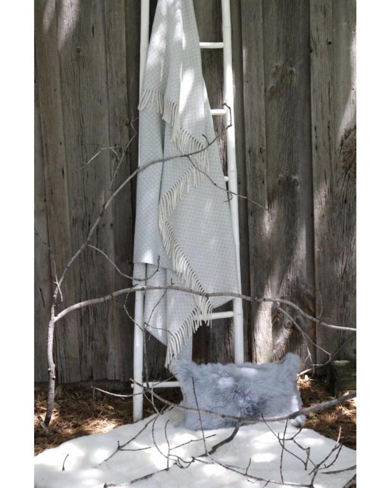 Princeton Throw Blanket, Celadon Grey & Ivory