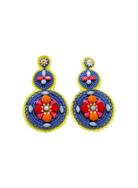 3 Tier Jeweled & Woven Disk Earrings (Yellow))