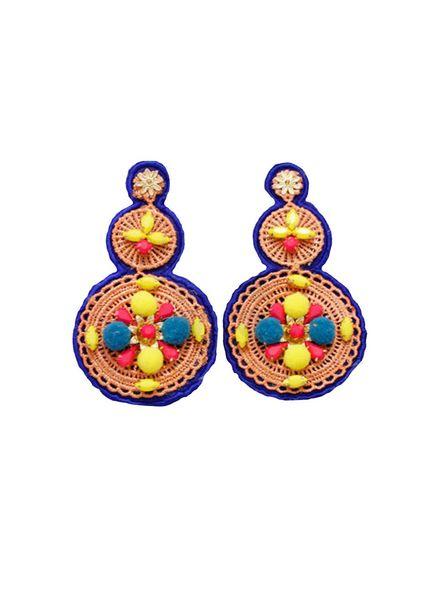 3 Tier Jeweled & Woven Disk Earrings (Blue)