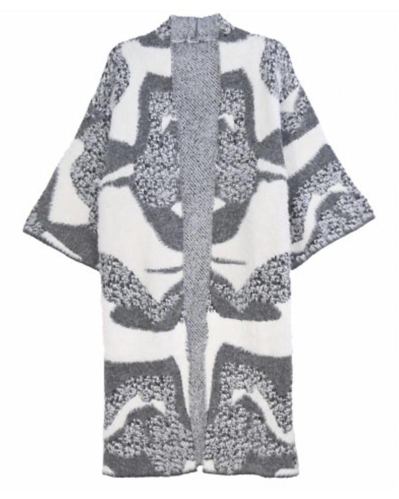 Abstract Pattern Fuzzy Cardigan (Gray) One Size