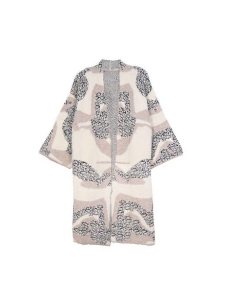 Abstract Pattern Fuzzy Cardigan (Ivory) One Size