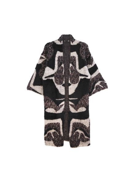 Abstract Pattern Fuzzy Cardigan (Black) One Size