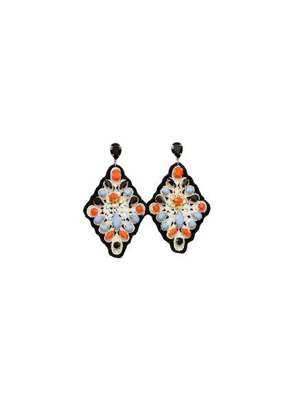 Jeweled Diamond Shape Earrings (Black/Multi)