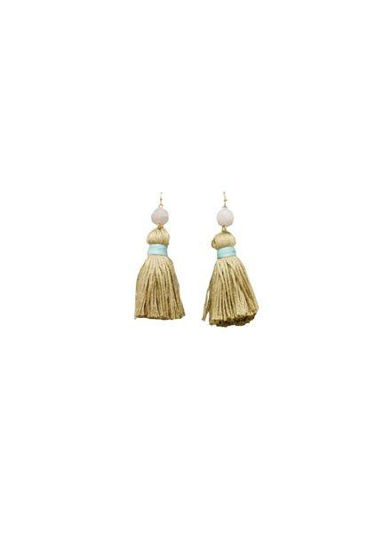 Ball & Tassel Earrings (Brown/Gold)