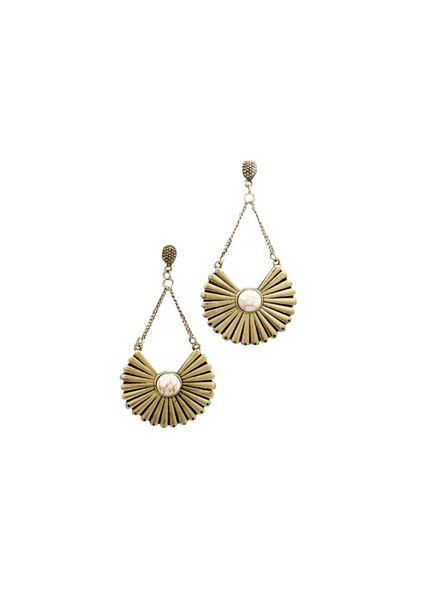 Circle Fan Earrings (Ivory/Gold)