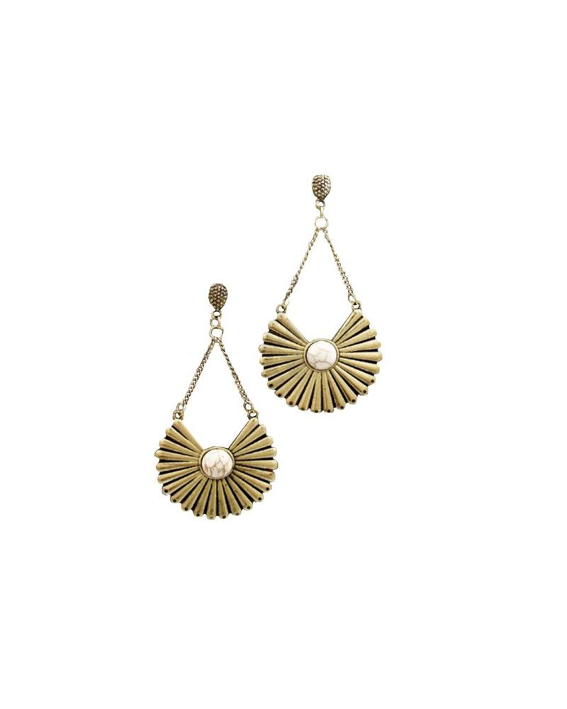 Circle Fan Earrings (Ivory/Gold)