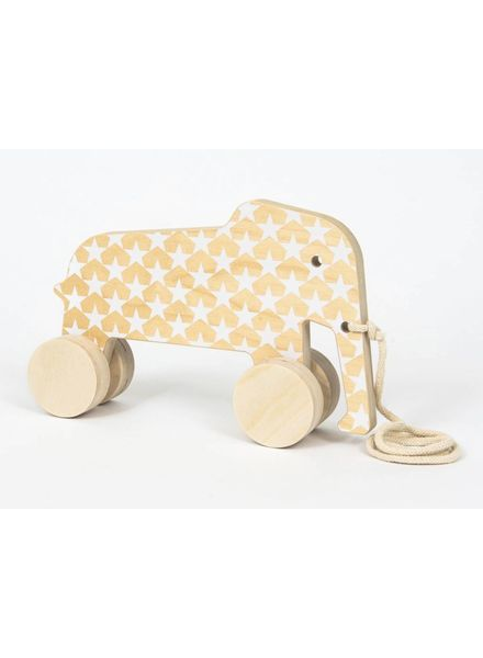 Wooden Elephant with White Stars