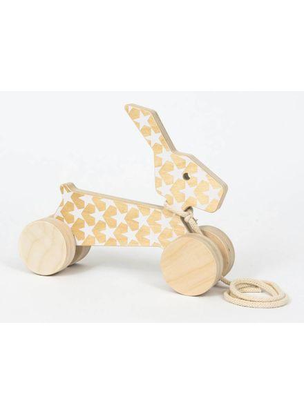 Wooden Rabbit with White Stars