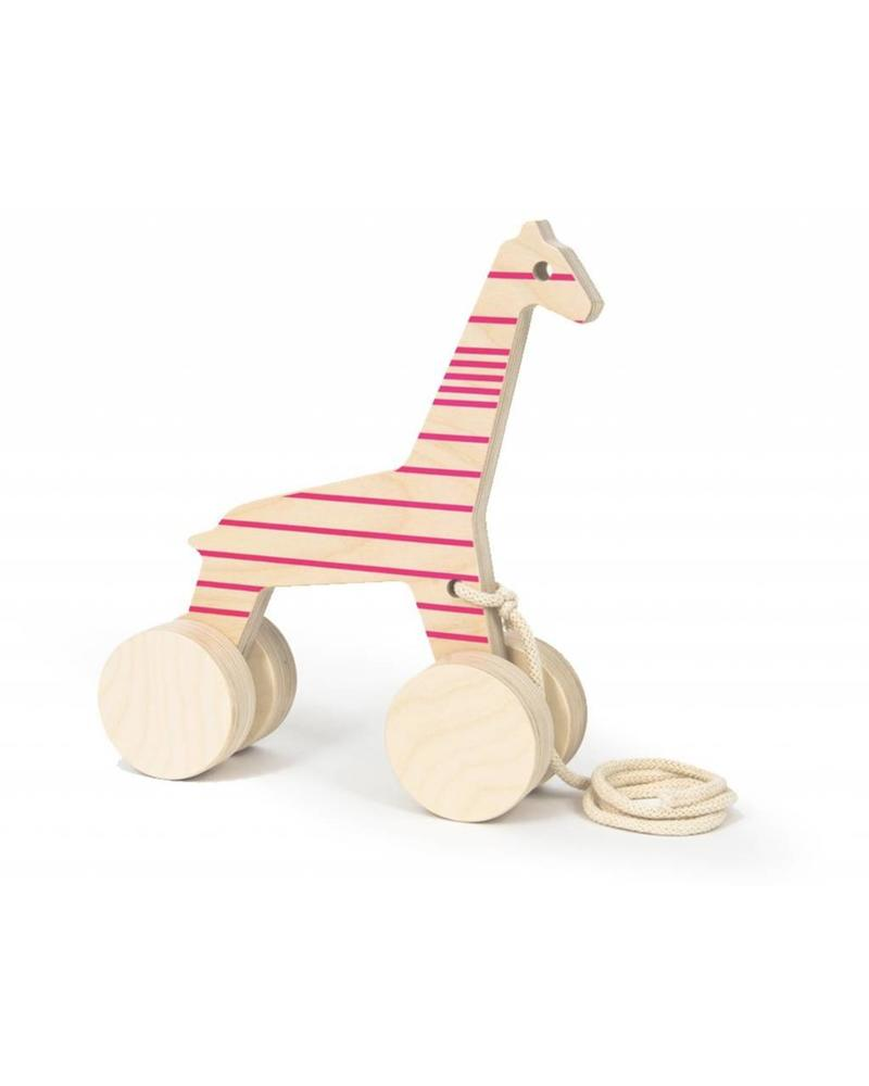 Wooden Giraffe with Hot Pink Lines
