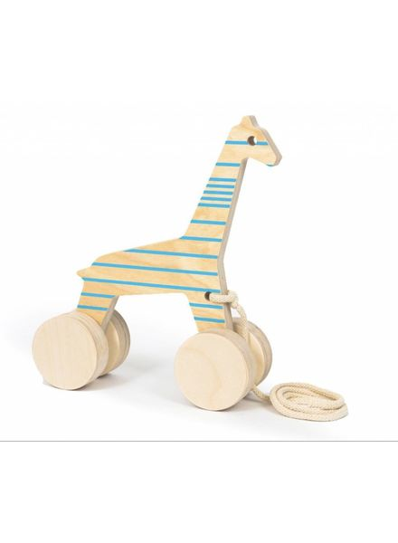 Wooden Giraffe with Blue lines