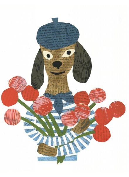 Nautical Dog with Bouquet Greeting Card