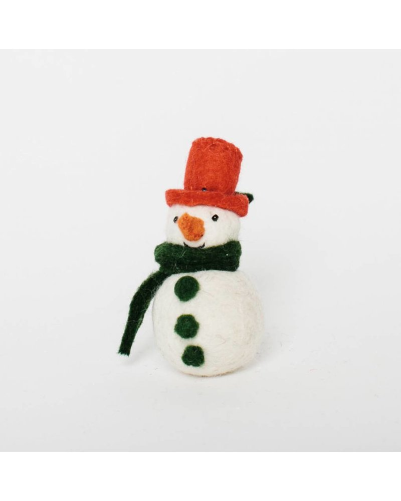 Classic Snowday: Little Dot Snowman green scarf Ornament