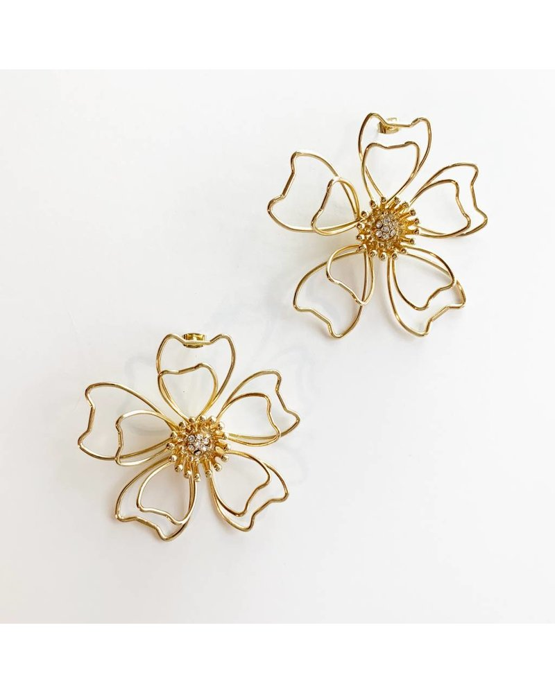 Gold Wire Blossom Earrings