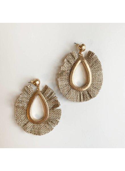 Fabric Tear Drop Earrings- Natural