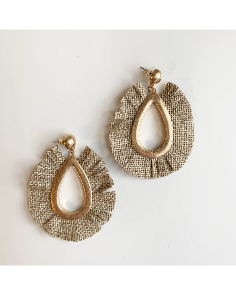 Fabric Tear Drop Earrings- Natural
