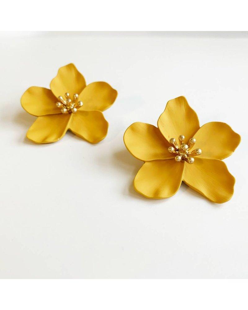 Worn Gold Flower Earrings