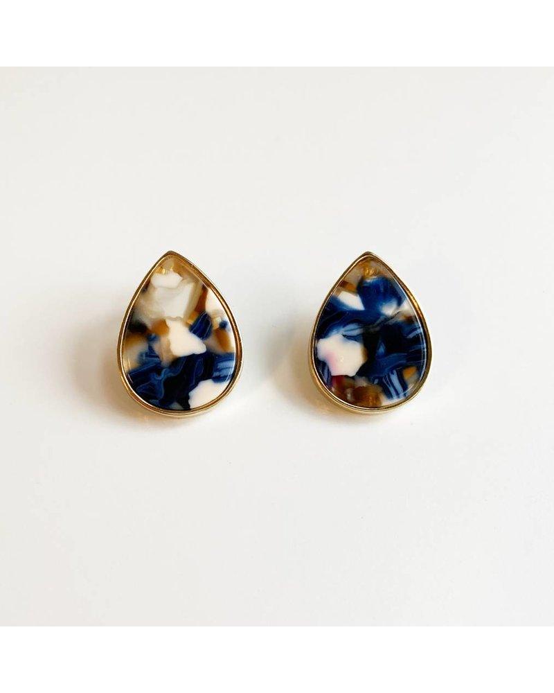Acrylic Tear Drop Earrings - Blue
