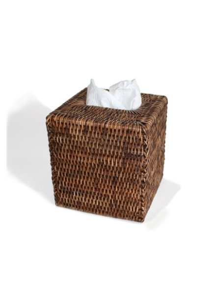 Antique Brown Square Tissue Box