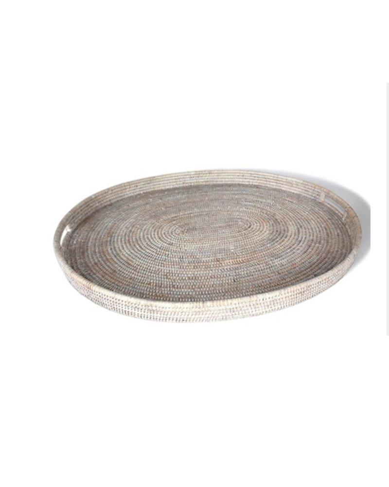 Large Round Tray w/ Handle, White Wash