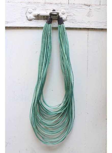 Teal and White Strand Necklace- Long