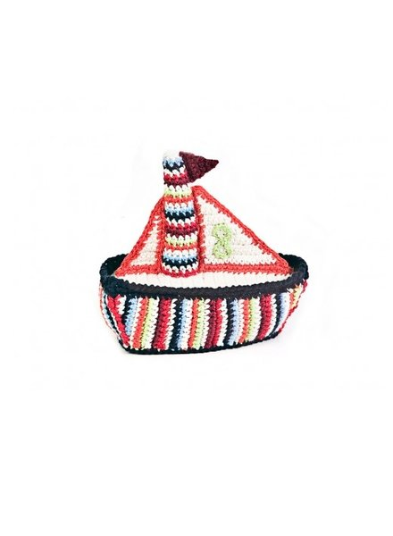 Multi Color Crochet Boat Rattle