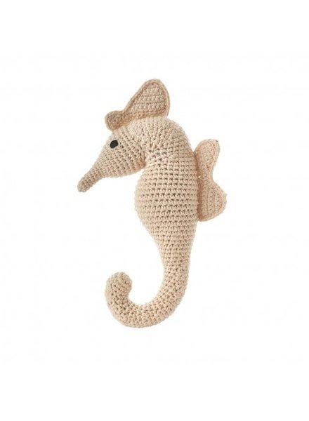 Crochet Seahorse Rattle- Natural