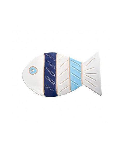 Ceramic Stripe Fish- Blue, White, Natural