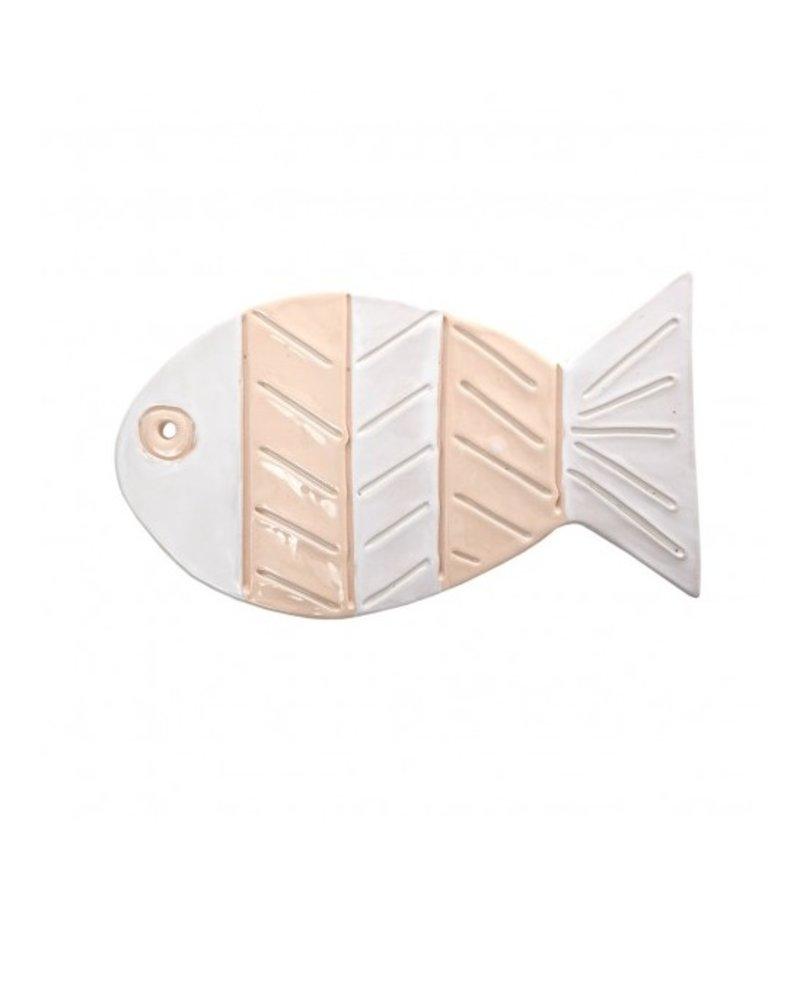 Ceramic Stripe Fish- White, Natural