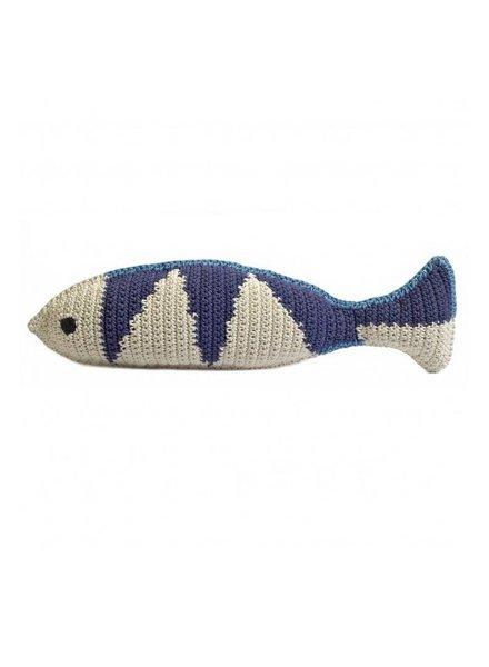Large Crochet Fish- Sky, Natural