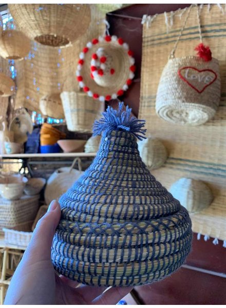 Petite woven & seagrass basket with pom and lid- marine