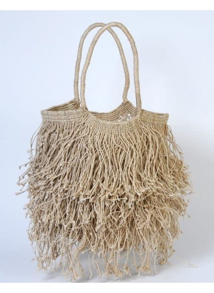 Jute Macrame with Long Fringe- Natural