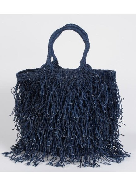 Jute Macrame with Long Fringe- Indigo