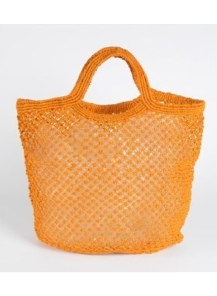 Jute Macrame Plain Shopper- Orange
