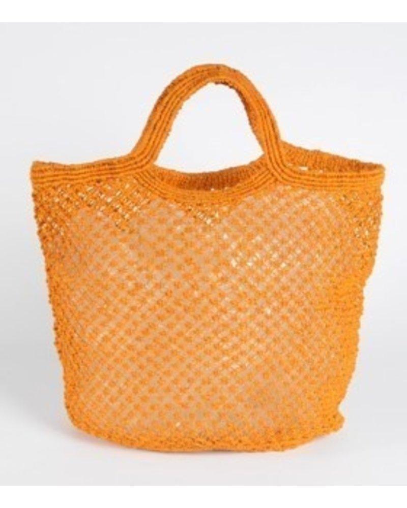 Jute Macrame Plain Shopper- Orange