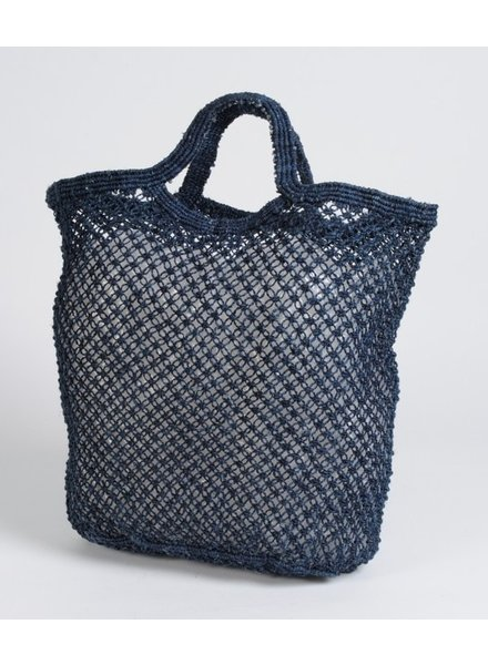 Jute Macrame Plain Shopper-Indigo
