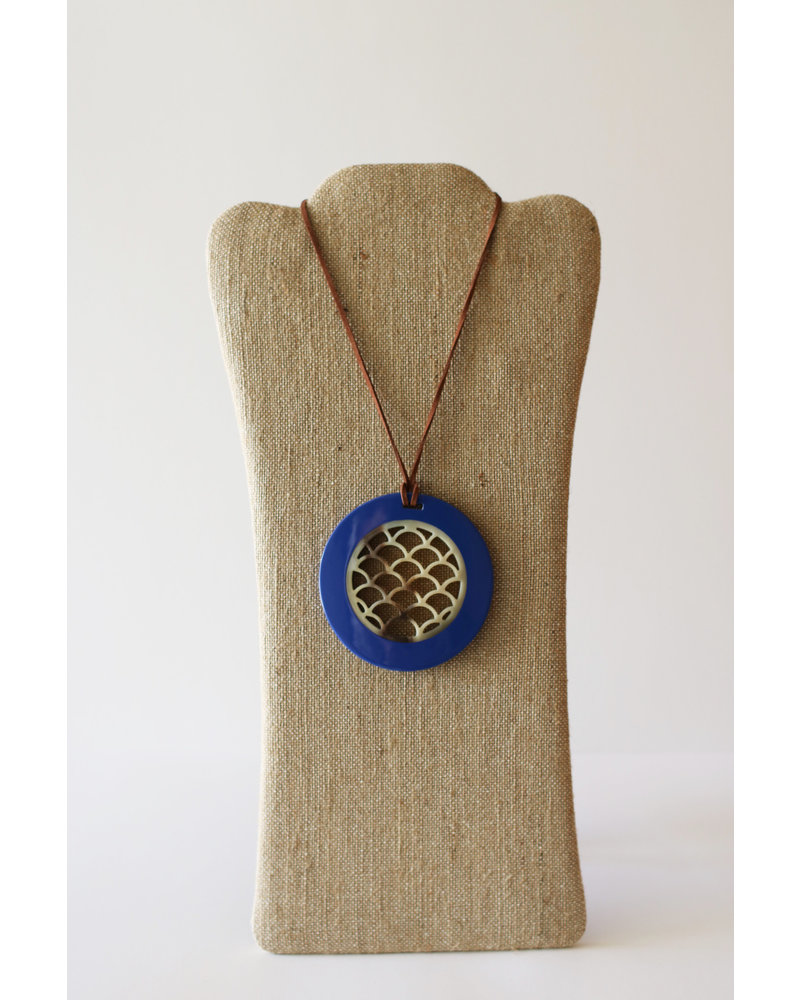 Horn Pendant with Leather Strap-Blue Lacquer