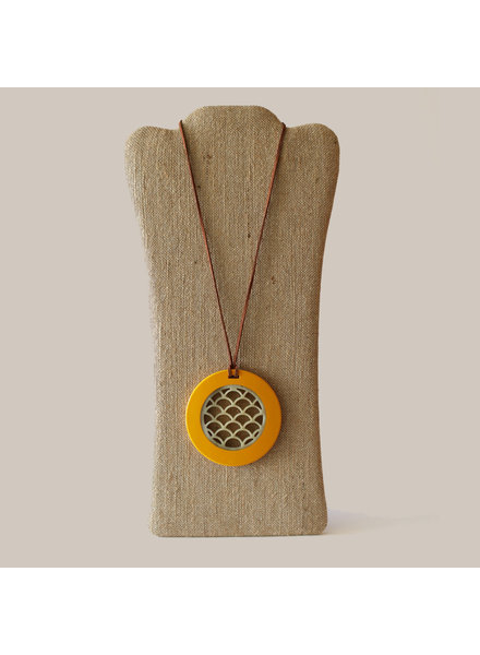 Horn Pendant with Leather Strap-Yellow Lacquer