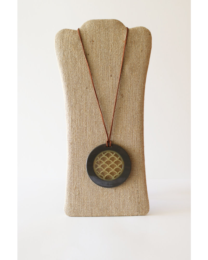 Horn Pendant with Leather Strap-Gray Lacquer