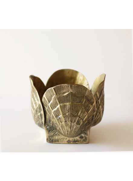 Vintage Brass Shell Planter