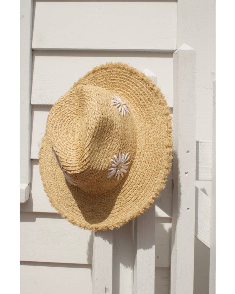 FLORA: Fedora- White with Flower Bursts