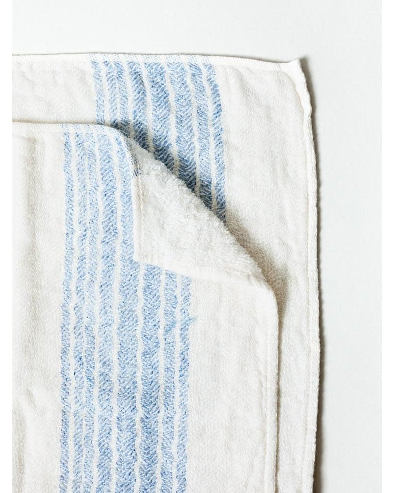 Blue & Ivory XL Bath Towel- Flax