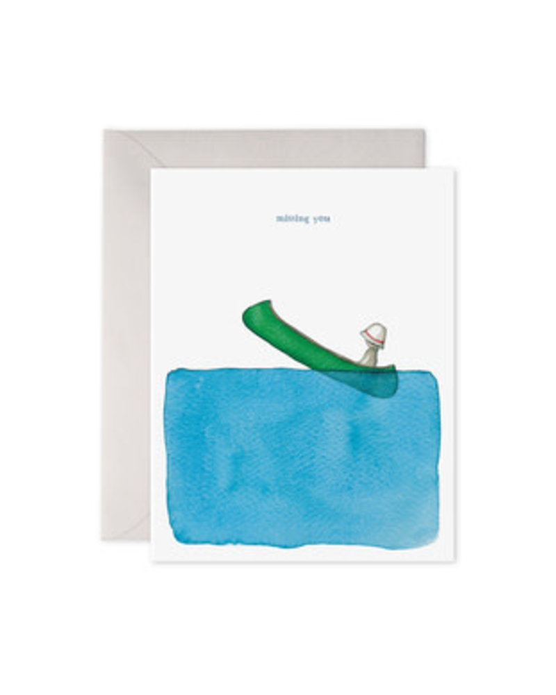 Missing You, Canoe, Greeting Card