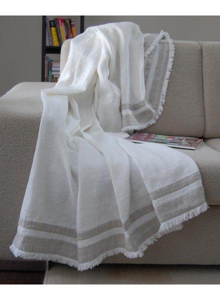 Lipari Throw, White with Beige Stitches