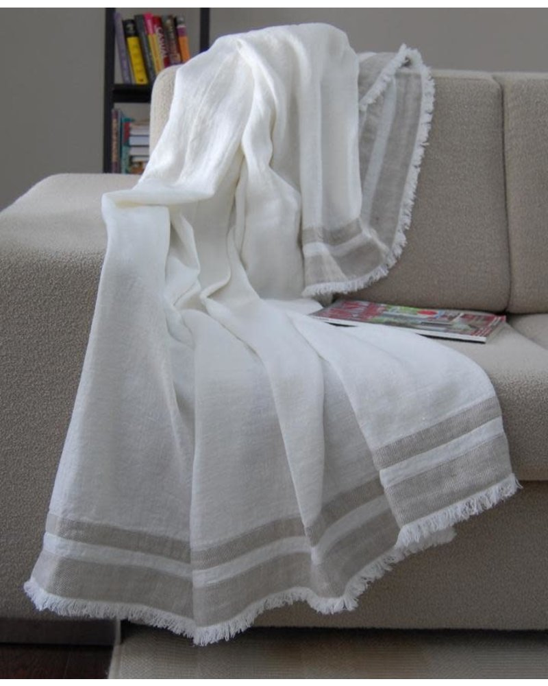 Lipari Throw, White with Beige Stitches