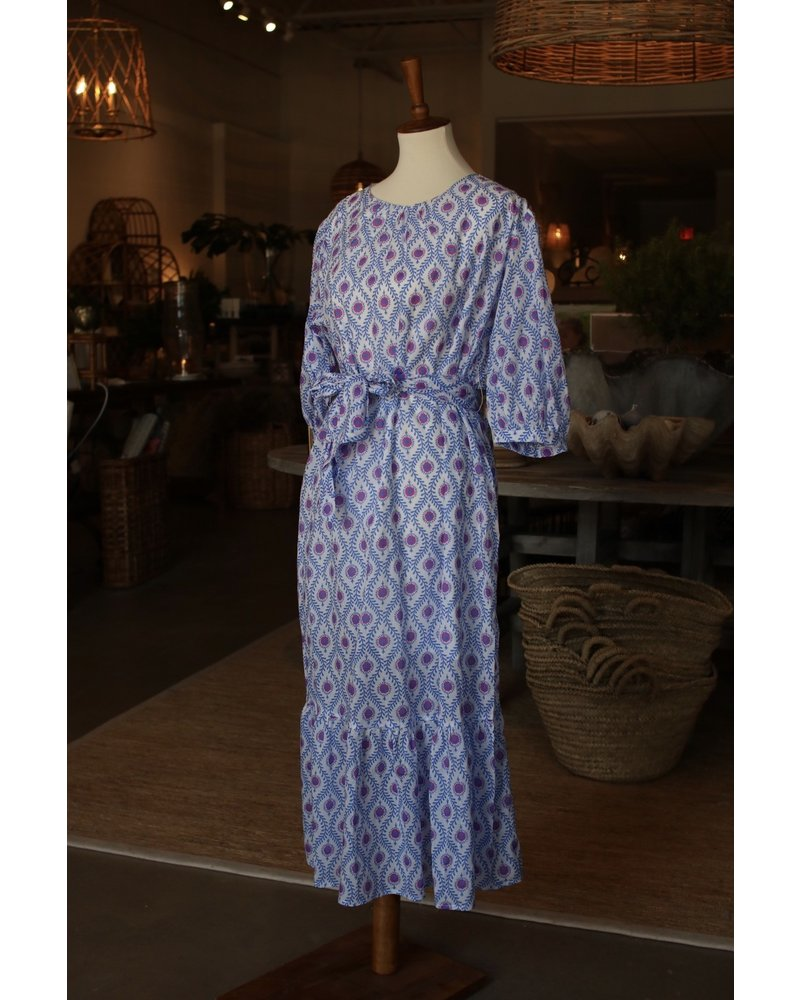 Pink + Blue Geo Belted Maxi