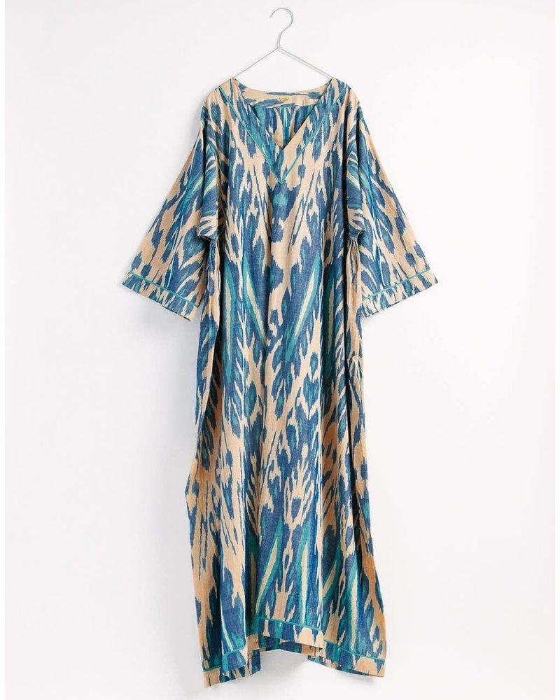 Laila Ikat Kaftan- Turquoise